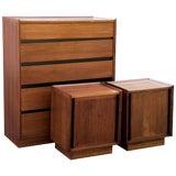 Image of Handsome Dillingham Esprit Walnut Highboy Dresser and Matching Nightstands For Sale