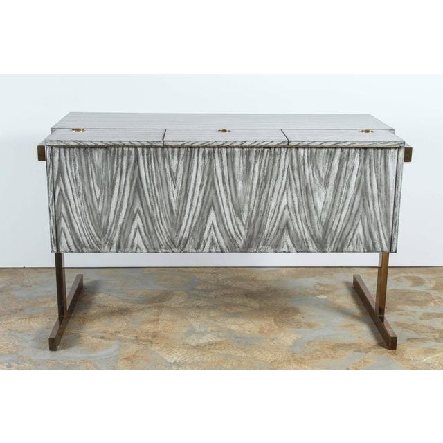Contemporary Customizable Paul Marra Writing, File Desk in Gray Zebra Finish For Sale - Image 3 of 10