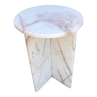 Mid-Century Solid Marble Side Table