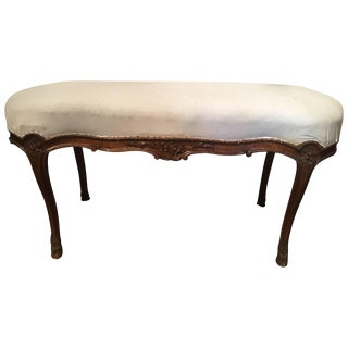 French Walnut Stool With Hoof Feet and Decorative Carvings, 19th Century For Sale