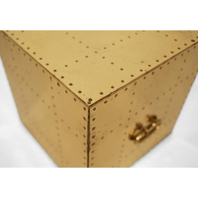 1970s Sarreid, Ltd. Polished Brass Studded Cube Box Tables - a Pair For Sale - Image 5 of 7