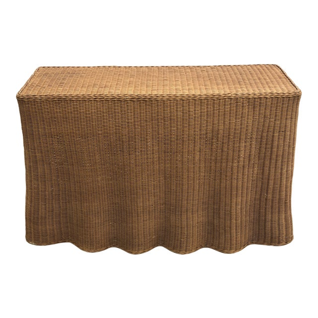 1970s Boho Chic Trompe L'oeil Rattan Skirted Console Ghost Table For Sale