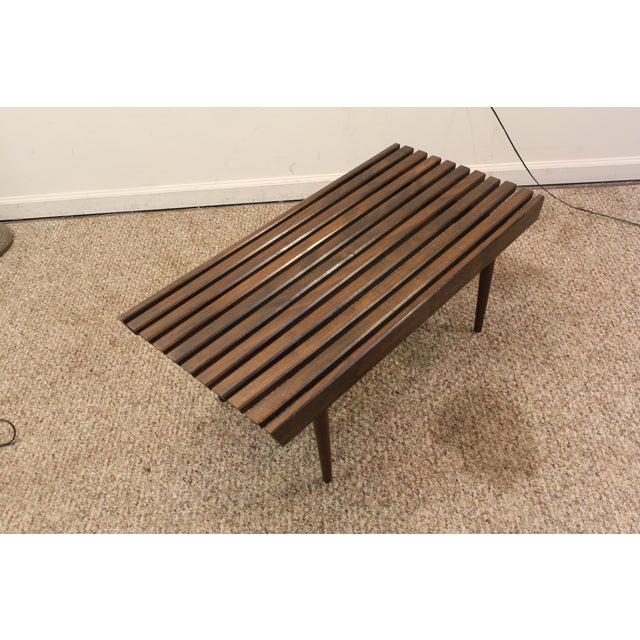 Mid Century Danish Modern Walnut Slat Bench/Coffee Table - Image 3 of 11