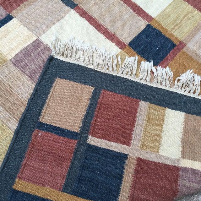 Geometric Indian Dhurrie Wool Rug - 4' x 6' - Image 8 of 8