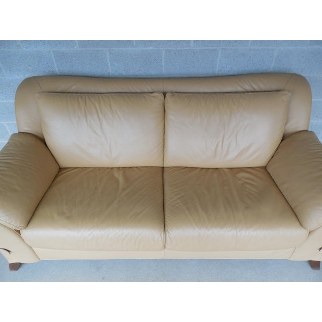"NATUZZI Italian Leather Sofa 86""W - Image 4 of 9"