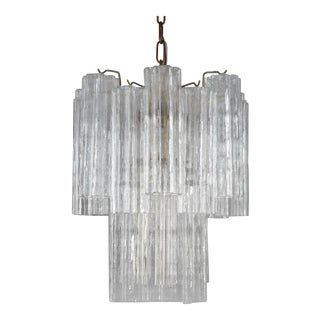 Venini Tronchi Chandelier With Eight Channel Tubes, Italy 1960s For Sale