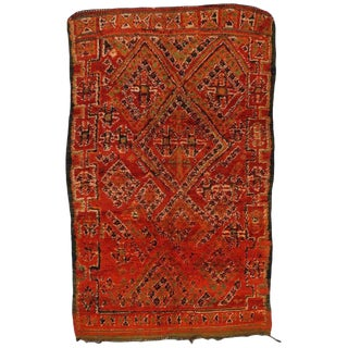 Vintage Mid-Century Berber Moroccan Rug - 5′3″ × 8′2″ For Sale
