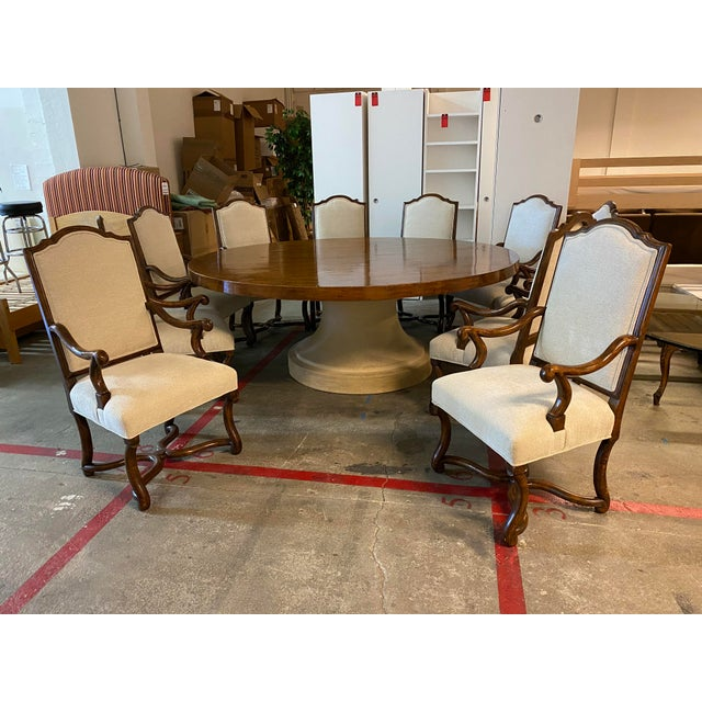 Mission Michael Taylor Table + Set of 10 Custom Design Chairs Dining Set For Sale - Image 3 of 13