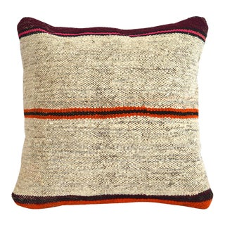 "Vintage Handmade Kilim Rug Hemp Pillow Cover Sham Throw - 16"" X 16"" For Sale"