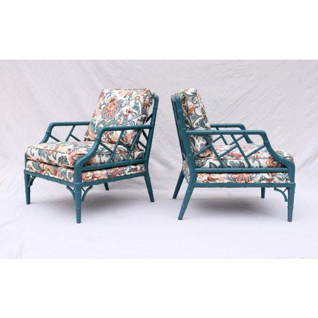 Faux Bamboo Chinese Chippendale Lounge Chairs For Sale - Image 13 of 13