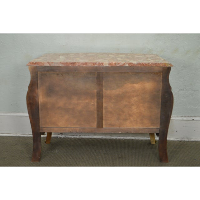 1980s French Louis XV Style Marble Top Bombe Commode Chest of Drawers For Sale - Image 5 of 12