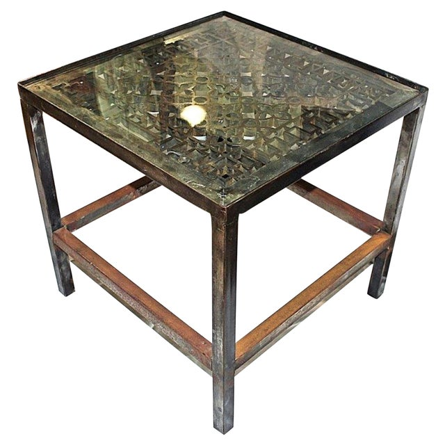 Polished Industrial Cast Steel End Table For Sale