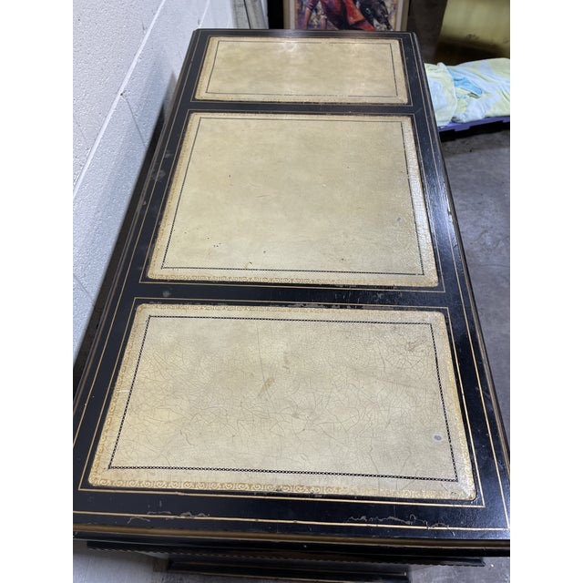 Chinoiserie Leather Too Writing Desk For Sale - Image 4 of 13