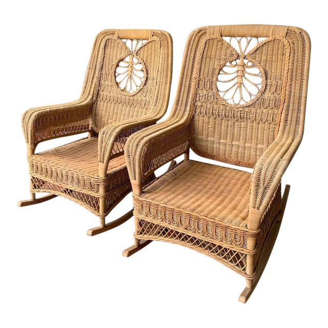 Ralph Lauren Wicker Rattan Rocking Chairs - Pair For Sale