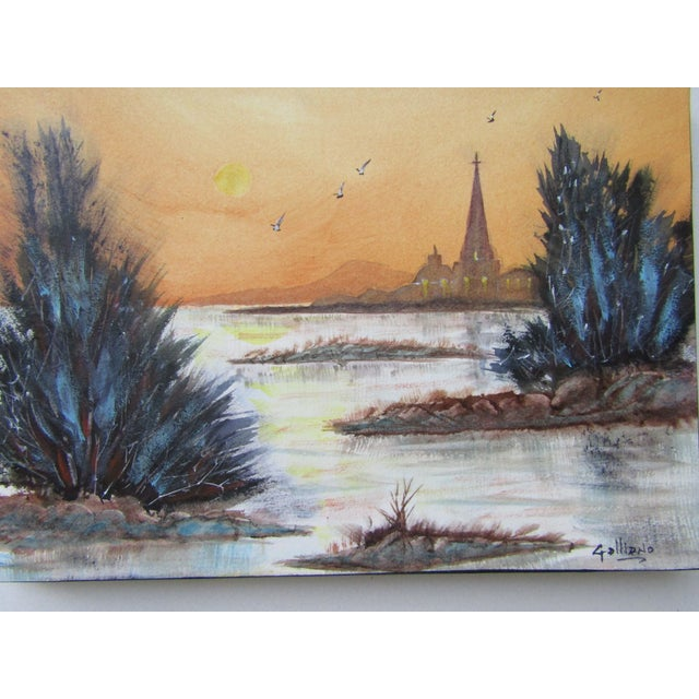 Lively and serene with rich color original watercolor. The painting is on paper and has been mounted on canvas and sealed....