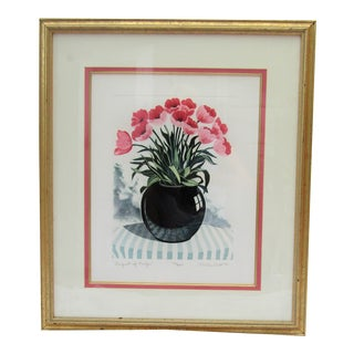 Vintage Framed Colorful Flowers in a Vase Etching, Signed & Framed For Sale