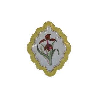 Chelsea House Hand Painted Floral Botanical Yellow Gilt Porcelain Marquis Tray For Sale