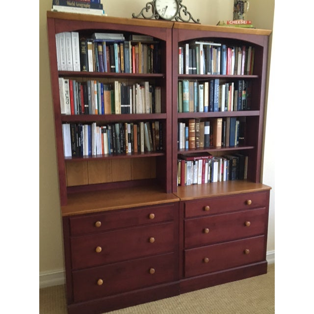 Country Ethan Allen Country Colors Collection Bookcase Chests- A Pair For Sale - Image 3 of 6