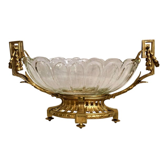 Antique Baccarat Crystal and Gold Bronze Centerpiece Epergne, Circa 1880. For Sale