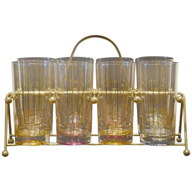 Set of Eight Mid-Century Gold Stripe Tom Collins Glasses with Brass Caddy - Image 1 of 6