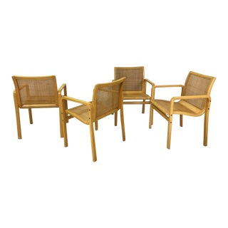 Set of Four Bentwood and Cane Dining Chairs For Sale