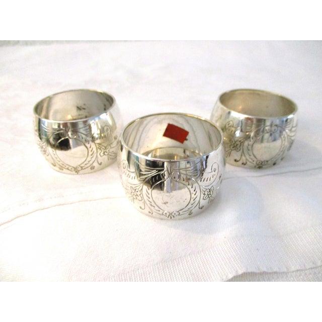Vintage Engraved Silver Napkin Rings - Set of 16 For Sale - Image 4 of 5