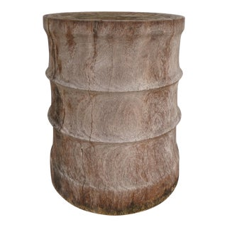Organic Tree Trunk Ribbed Carved Wood Stool or Side Table