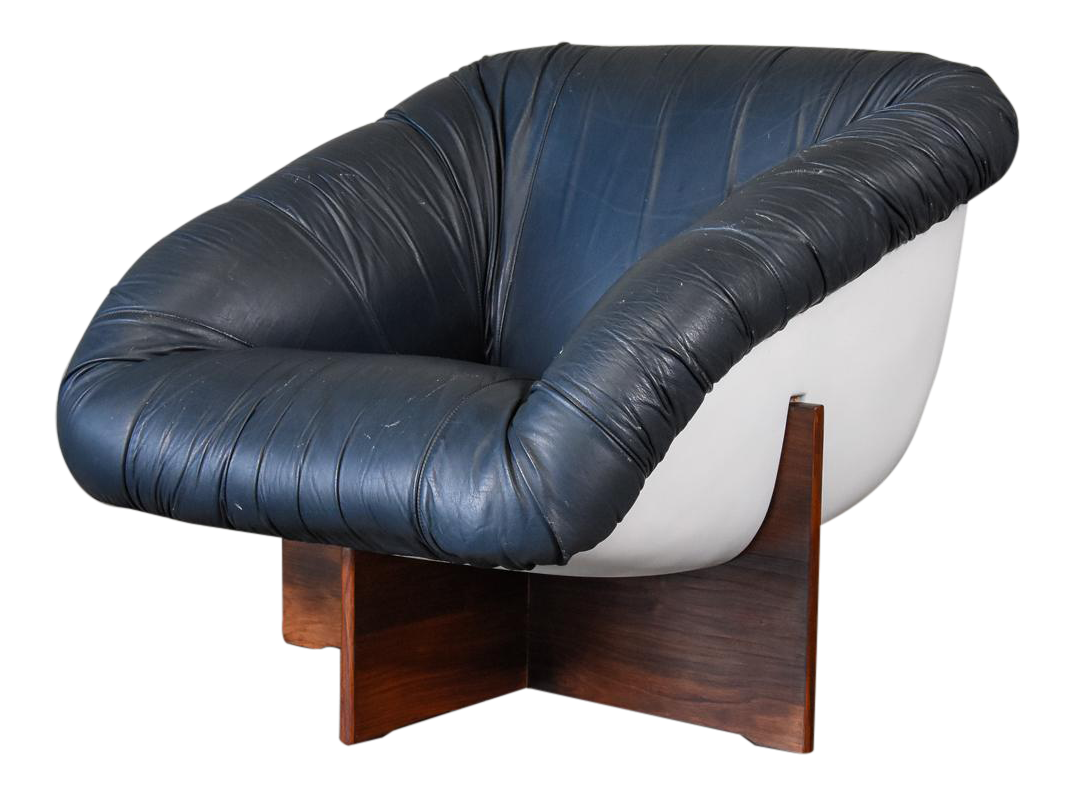 Leather And Fiberglass Lounge Chair By Percival Lafer