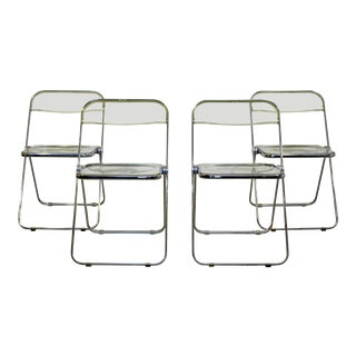 1960s Vintage Castelli Mid Century Modern Lucite Chrome Folding Side Chairs - Set of 4 For Sale