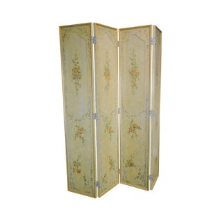 Italian Hand Painted 4 Panel Folding Screen For Sale