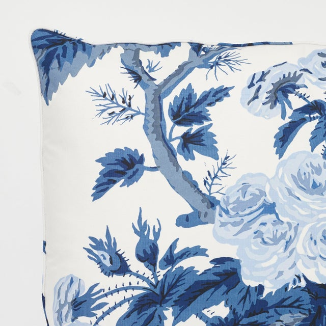 2010s Schumacher Pyne Hollyhock Pillow in Indigo For Sale - Image 5 of 7