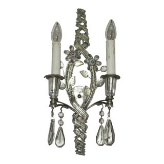 1920's French Art Deco Original Maison Bagues Paris Crystal Bead & Silvered Steel Wall 2 Light Sconce For Sale