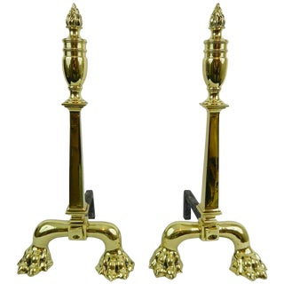 Pair of Tall Chenets or Andirons With Paw Feet and Flame Finials, 19th Century For Sale