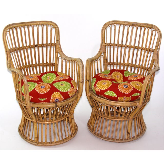 Franco Albini Style Rattan Chairs - A Pair - Image 2 of 11