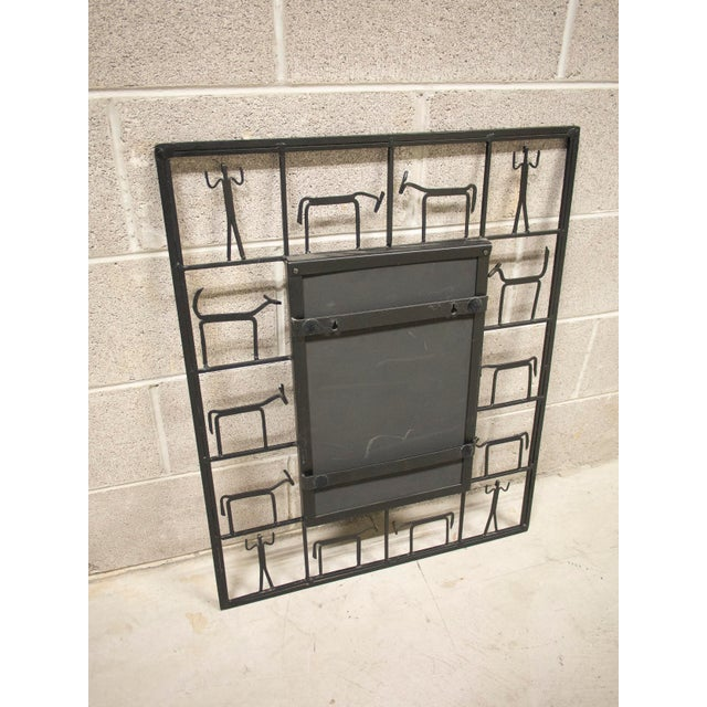1960s Vintage Frederick Weinberg Style Iron Mirror For Sale - Image 5 of 6