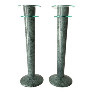 Post Modern Green Marble and Lucite Candlestick Holders - a Pair