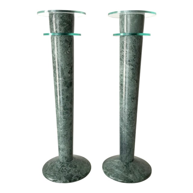 Post Modern Green Marble and Lucite Candlestick Holders - a Pair For Sale