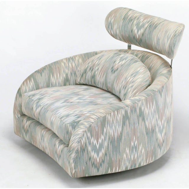 Textile Adrian Pearsall Swivelling Club Chair with Ottoman and Integral Headrest For Sale - Image 7 of 9