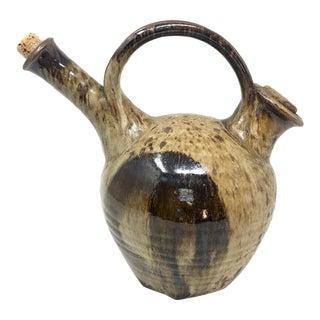 Vintage Studio Pottery Vessel/Pitcher With Double Spout For Sale