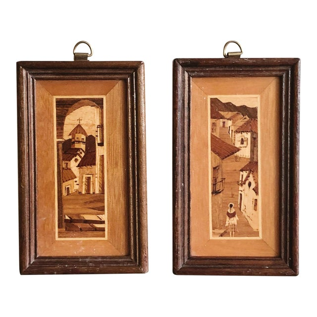Vintage South American Village Tiny Framed Marquetry Art - a Pair For Sale