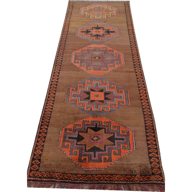 Hand Knotted Turkish Runner Rug - 3′11″ × 10′9″ - Image 1 of 10