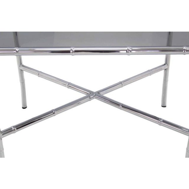 Chrome Faux Bamboo Smoked Glass Top Side or Coffee Table For Sale In New York - Image 6 of 10