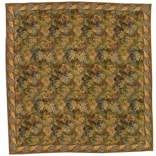 "Pasargad N Y Vintage French Floral Wall Hanging Tapestry - 4'5""x 4'5"" For Sale"