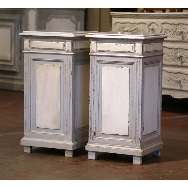 Pair of 19th Century French Carved Painted Nightstands With Marble Top For Sale - Image 9 of 10