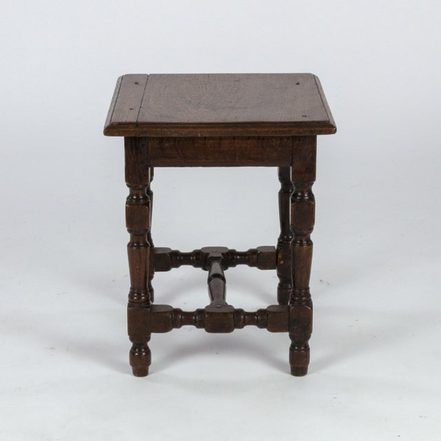 English Traditional English Oak Square Stool With Turned Legs and H-Stretcher, Circa 1890 For Sale - Image 3 of 11