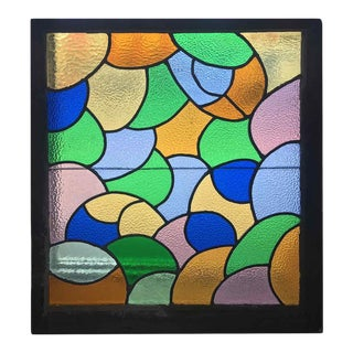 1930's Abstract Multicolored Stained Glass Window For Sale