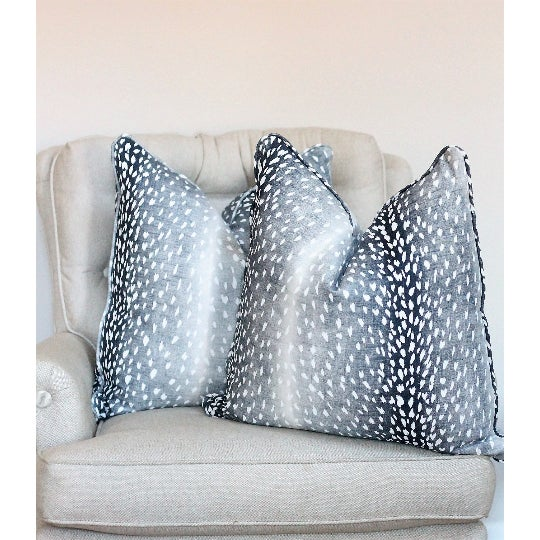 Traditional Navy Blue Antelope Pillows - a Pair For Sale - Image 3 of 4