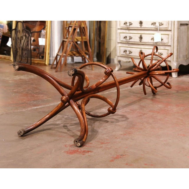 Early 20th Century Early 20th Century Carved Bentwood Coat Stand With Umbrella Ring Thonet Style For Sale - Image 5 of 6