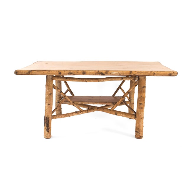 Rustic Adirondack Rectangular Birchwood Dining Table For Sale - Image 4 of 4