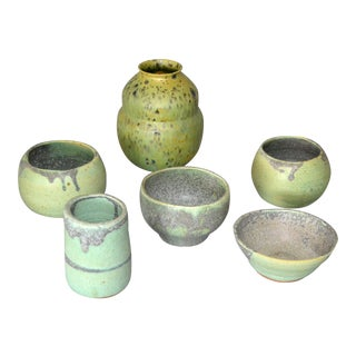 Vintage Handcrafted Aztec Green & Gray Pottery Bowls / Vessel - Set of 6 For Sale